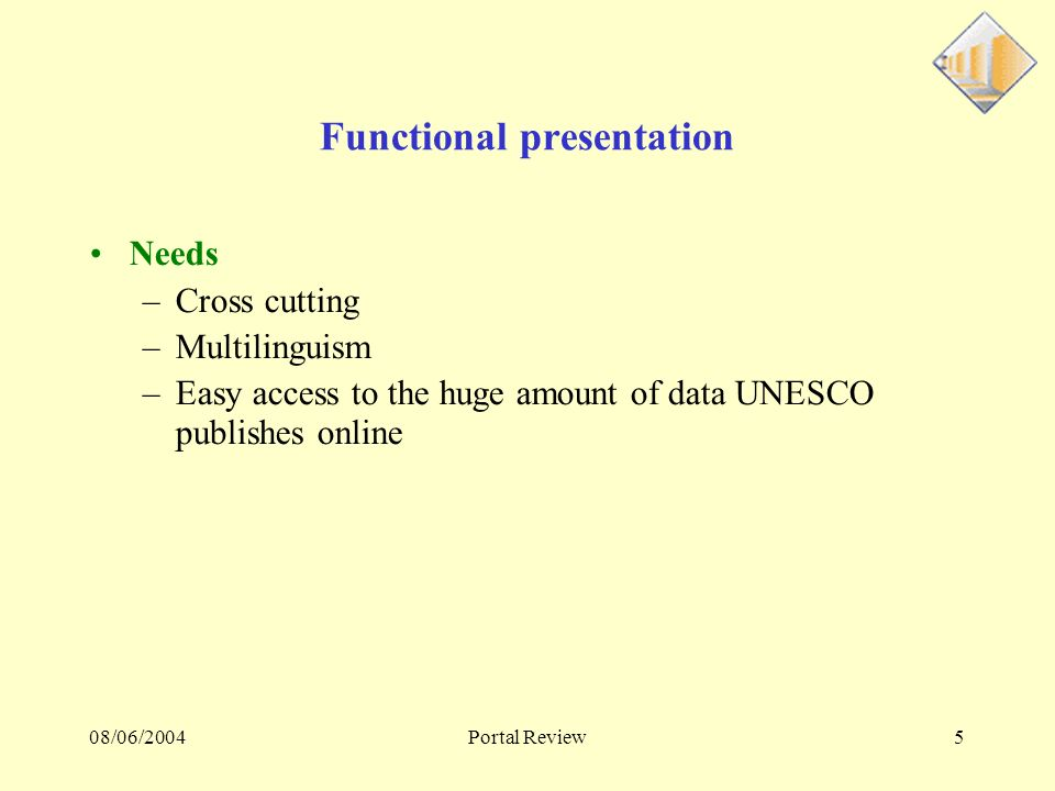 08/06/2004Portal Review6 Functional presentation Actions for the portal –Standardization –Definition of a functional architecture –Pooling of resources Search engine Mailing-lists –Definition of a physical architecture