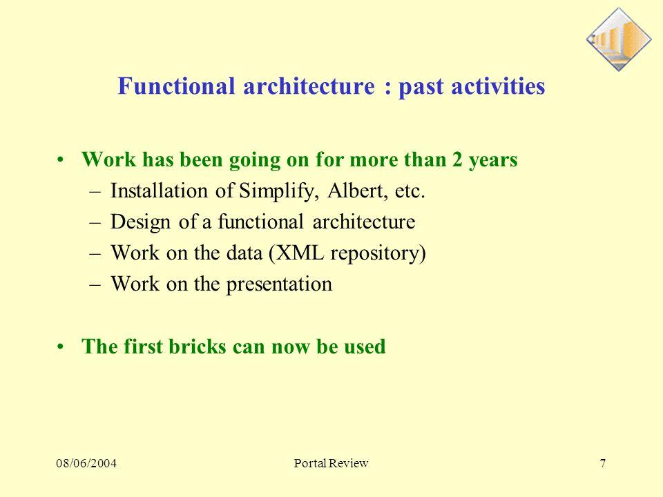 08/06/2004Portal Review18 Architecture Simplify actuelle FireWall Simplify1 BD Simplify3Simplify2Simplify4 BD Frontal Public Privé Frontal Public Privé s_water s_clt s_shs …..
