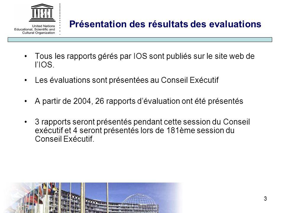 3 Présentation des résultats des evaluations Tous les rapports gérés par IOS sont publiés sur le site web de lIOS.