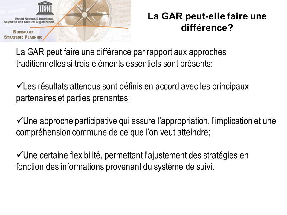 La GAR peut-elle faire une différence? 17 La GAR peut faire une différence par rapport aux approches traditionnelles si trois éléments essentiels sont
