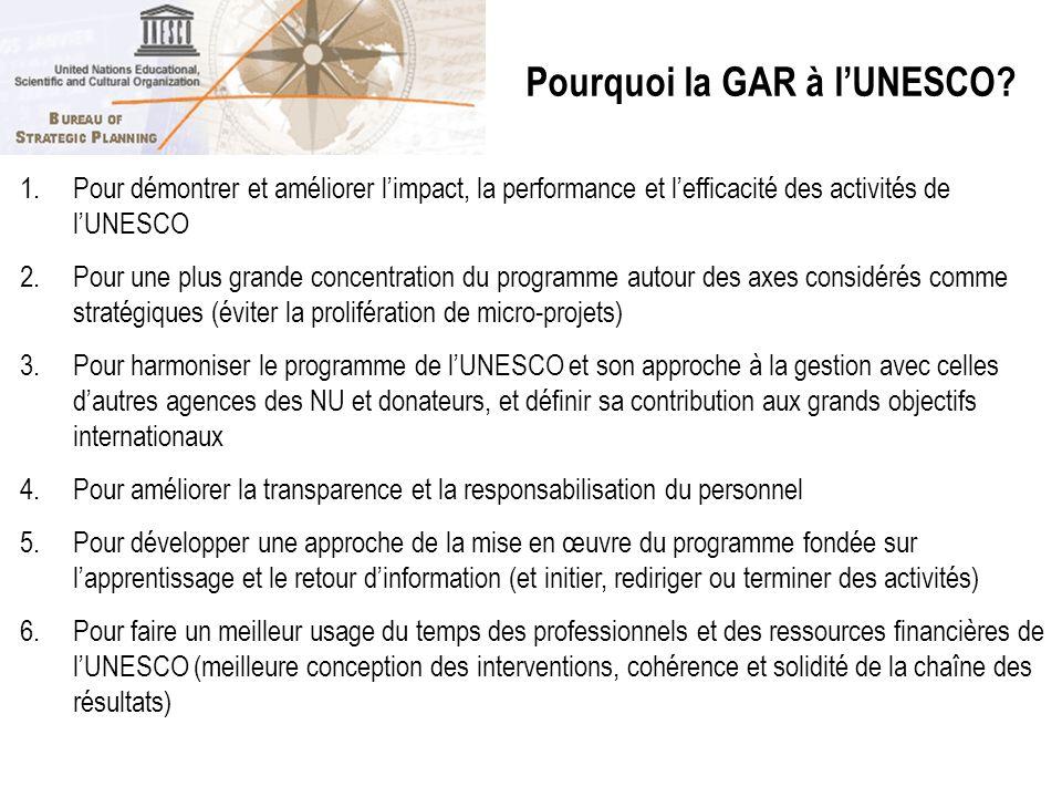 1.Pour démontrer et améliorer limpact, la performance et lefficacité des activités de lUNESCO 2.Pour une plus grande concentration du programme autour