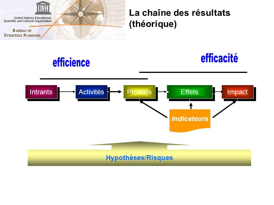 Intrants Activités Produits Effets Impact Indicateurs Hypothèses/Risques La chaîne des résultats (théorique)
