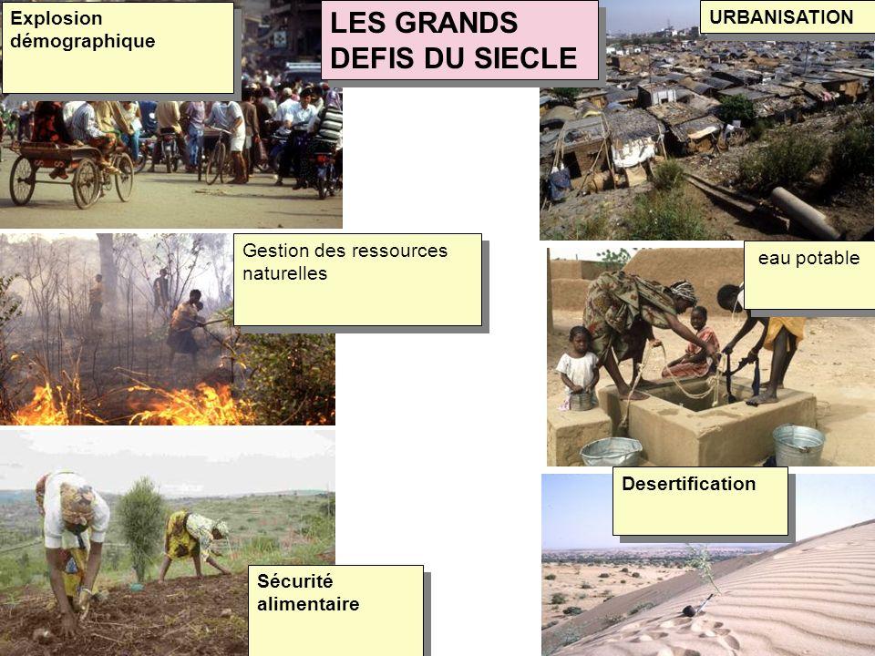 URBANISATION Gestion des ressources naturelles Sécurité alimentaire Explosion démographique eau potable Desertification LES GRANDS DEFIS DU SIECLE