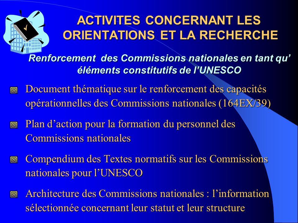 DOMAINES DE CONCENTRATION Orientations et recherche Renforcement des capacités Stratégies régionales Compétences en communication Principaux objectifs