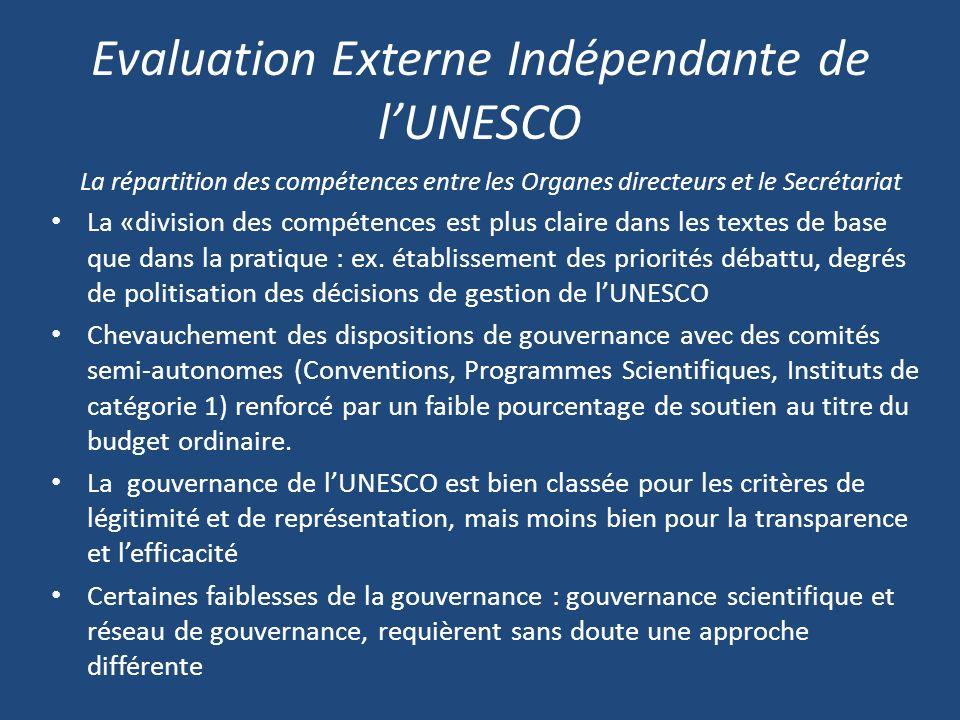 Evaluation Externe Indépendante de lUNESCO La répartition des compétences entre les Organes directeurs et le Secrétariat La «division des compétences est plus claire dans les textes de base que dans la pratique : ex.