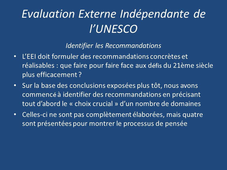 Evaluation Externe Indépendante de lUNESCO Identifier les Recommandations LEEI doit formuler des recommandations concrètes et réalisables : que faire pour faire face aux d éfis du 21ème siècle plus efficacement .