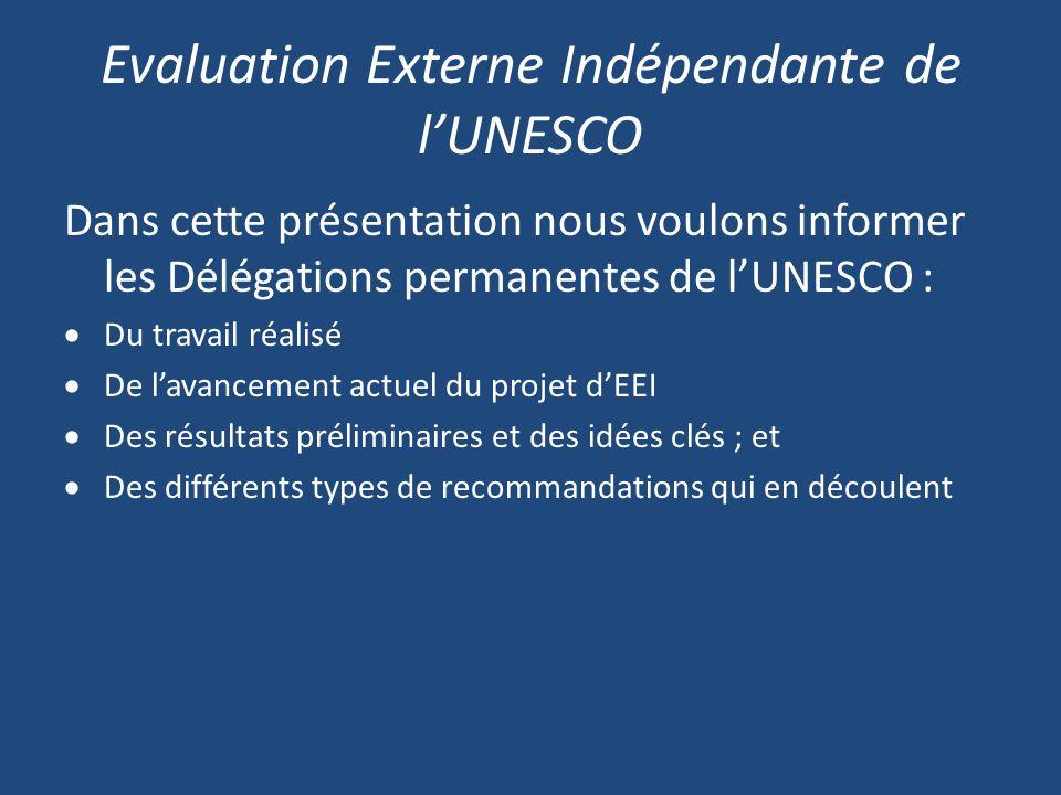 Evaluation Externe Indépendante de lUNESCO Dans cette présentation nous voulons informer les Délégations permanentes de lUNESCO : Du travail réalisé De lavancement actuel du projet dEEI Des résultats préliminaires et des idées clés ; et Des différents types de recommandations qui en découlent