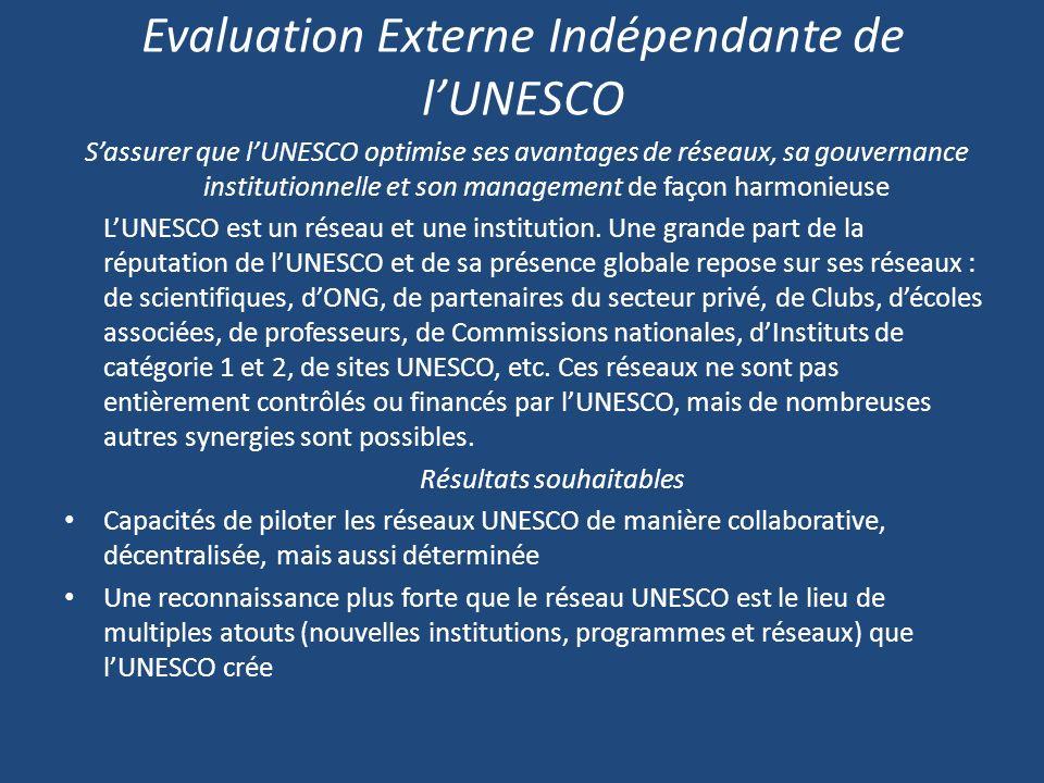 Evaluation Externe Indépendante de lUNESCO Sassurer que lUNESCO optimise ses avantages de réseaux, sa gouvernance institutionnelle et son management de façon harmonieuse LUNESCO est un réseau et une institution.