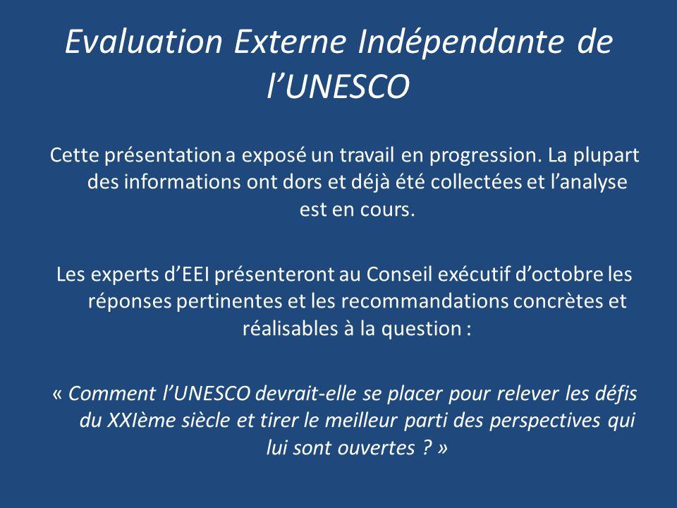 Evaluation Externe Indépendante de lUNESCO Cette présentation a exposé un travail en progression.