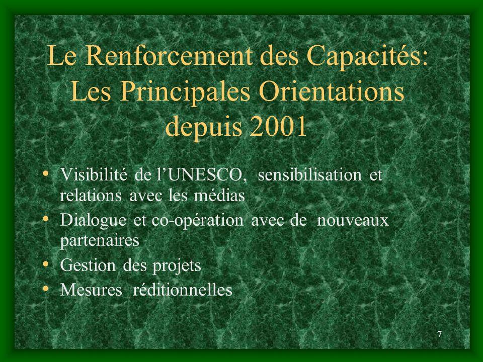 7 Le Renforcement des Capacités: Les Principales Orientations depuis 2001 Visibilité de lUNESCO, sensibilisation et relations avec les médias Dialogue et co-opération avec de nouveaux partenaires Gestion des projets Mesures réditionnelles