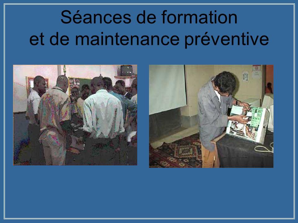Séances de formation et de maintenance préventive
