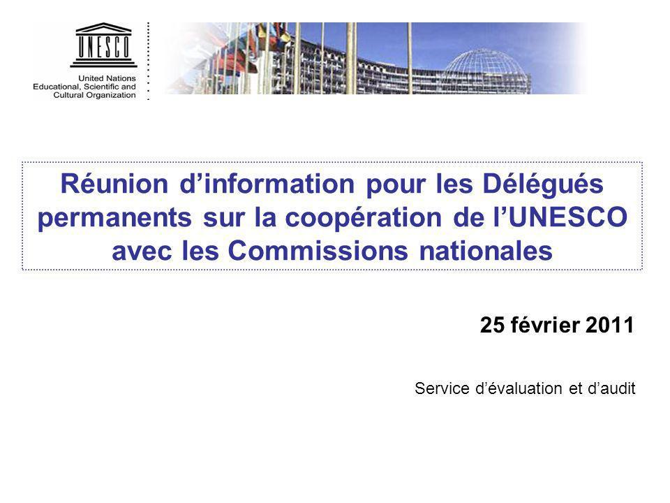 Réunion dinformation pour les Délégués permanents sur la coopération de lUNESCO avec les Commissions nationales 25 février 2011 Service dévaluation et