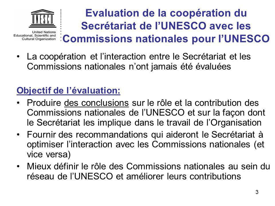 3 Evaluation de la coopération du Secrétariat de lUNESCO avec les Commissions nationales pour lUNESCO La coopération et linteraction entre le Secrétar