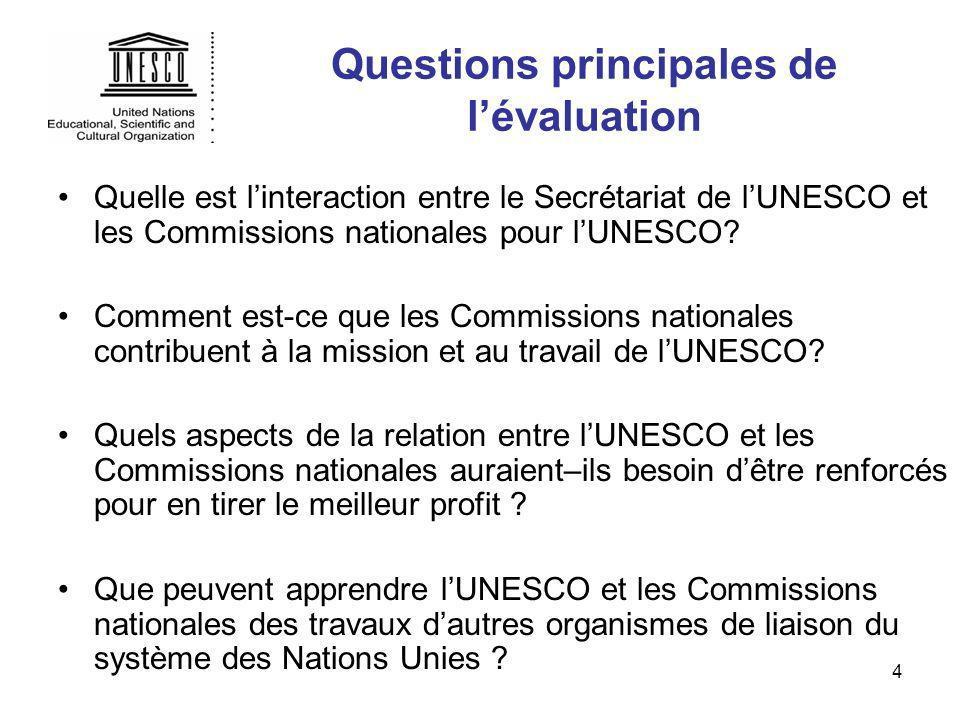 4 Questions principales de lévaluation Quelle est linteraction entre le Secrétariat de lUNESCO et les Commissions nationales pour lUNESCO? Comment est