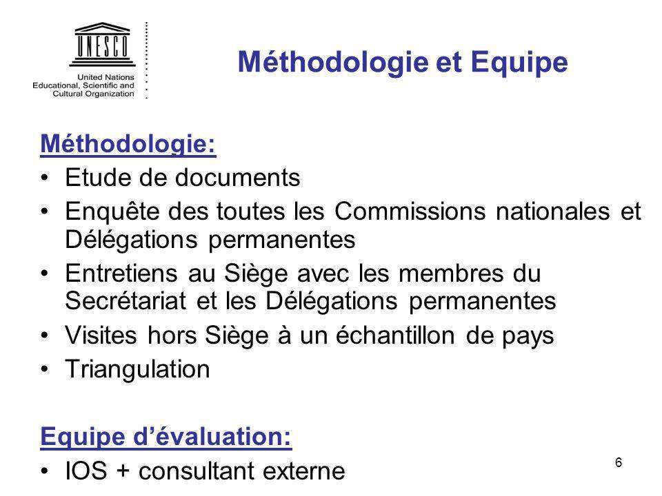 6 Méthodologie et Equipe Méthodologie: Etude de documents Enquête des toutes les Commissions nationales et Délégations permanentes Entretiens au Siège