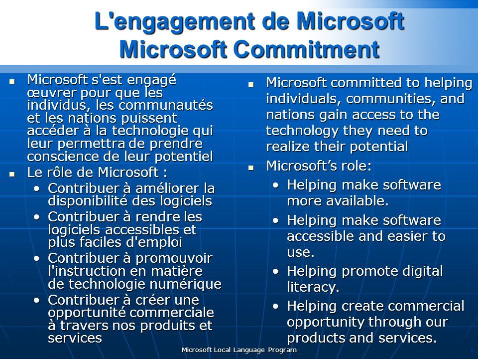 Microsoft Local Language Program Microsoft s est engagé œuvrer pour que les individus, les communautés et les nations puissent accéder à la technologie qui leur permettra de prendre conscience de leur potentiel Microsoft s est engagé œuvrer pour que les individus, les communautés et les nations puissent accéder à la technologie qui leur permettra de prendre conscience de leur potentiel Le rôle de Microsoft : Le rôle de Microsoft : Contribuer à améliorer la disponibilité des logicielsContribuer à améliorer la disponibilité des logiciels Contribuer à rendre les logiciels accessibles et plus faciles d emploiContribuer à rendre les logiciels accessibles et plus faciles d emploi Contribuer à promouvoir l instruction en matière de technologie numériqueContribuer à promouvoir l instruction en matière de technologie numérique Contribuer à créer une opportunité commerciale à travers nos produits et servicesContribuer à créer une opportunité commerciale à travers nos produits et services * L engagement de Microsoft Microsoft Commitment Microsoft committed to helping individuals, communities, and nations gain access to the technology they need to realize their potential Microsoft committed to helping individuals, communities, and nations gain access to the technology they need to realize their potential Microsofts role: Microsofts role: Helping make software more available.Helping make software more available.
