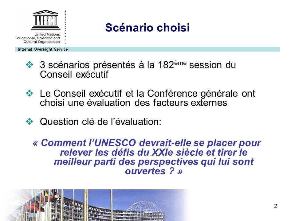 Internal Oversight Service 3 35 Conférence générale Résolution 102 « Décide en conséquence quune évaluation externe et indépendante de lUNESCO doit être menée, qui soit globale, stratégique et tournée vers lavenir… »