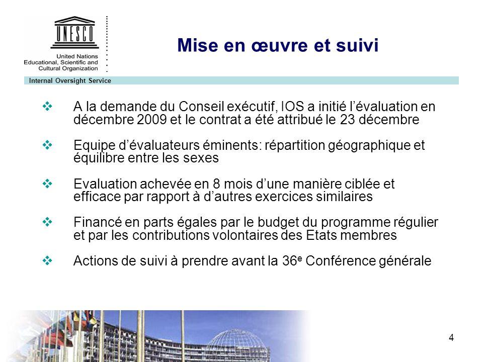 Internal Oversight Service 4 Mise en œuvre et suivi A la demande du Conseil exécutif, IOS a initié lévaluation en décembre 2009 et le contrat a été at
