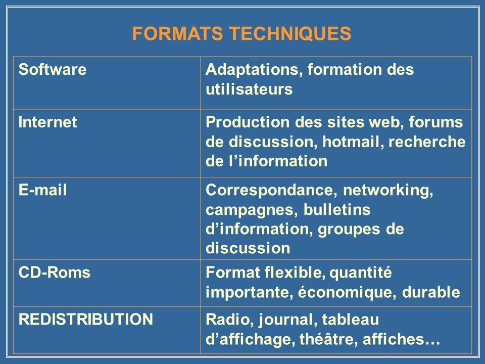 FORMATS TECHNIQUES SoftwareAdaptations, formation des utilisateurs InternetProduction des sites web, forums de discussion, hotmail, recherche de linfo
