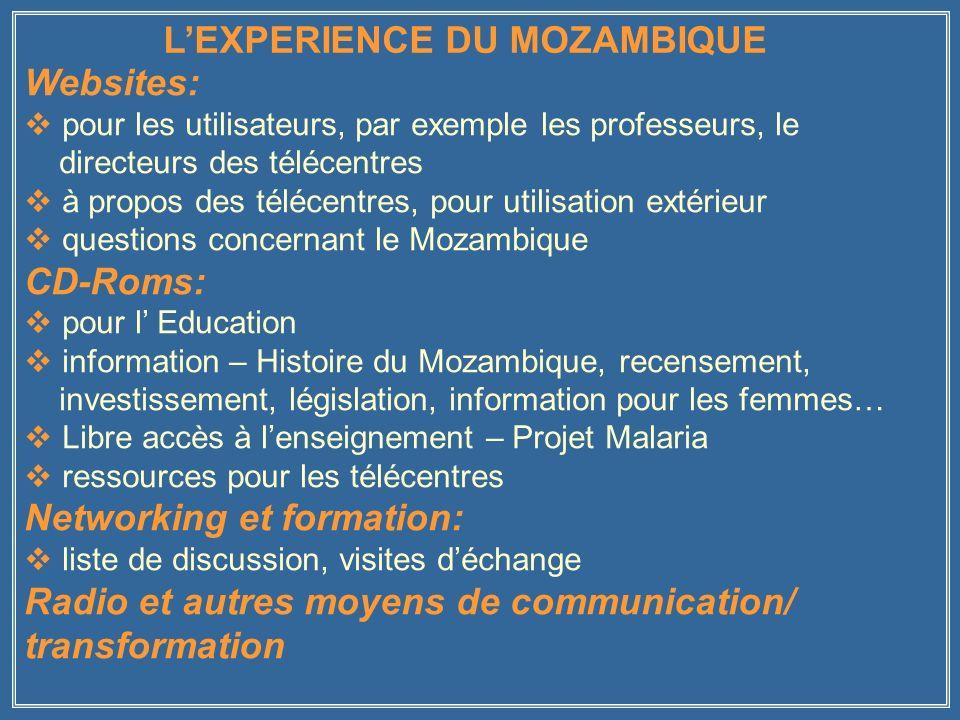 Websites: pour les utilisateurs, par exemple les professeurs, le directeurs des télécentres à propos des télécentres, pour utilisation extérieur questions concernant le Mozambique CD-Roms: pour l Education information – Histoire du Mozambique, recensement, investissement, législation, information pour les femmes… Libre accès à lenseignement – Projet Malaria ressources pour les télécentres Networking et formation: liste de discussion, visites déchange Radio et autres moyens de communication/ transformation LEXPERIENCE DU MOZAMBIQUE