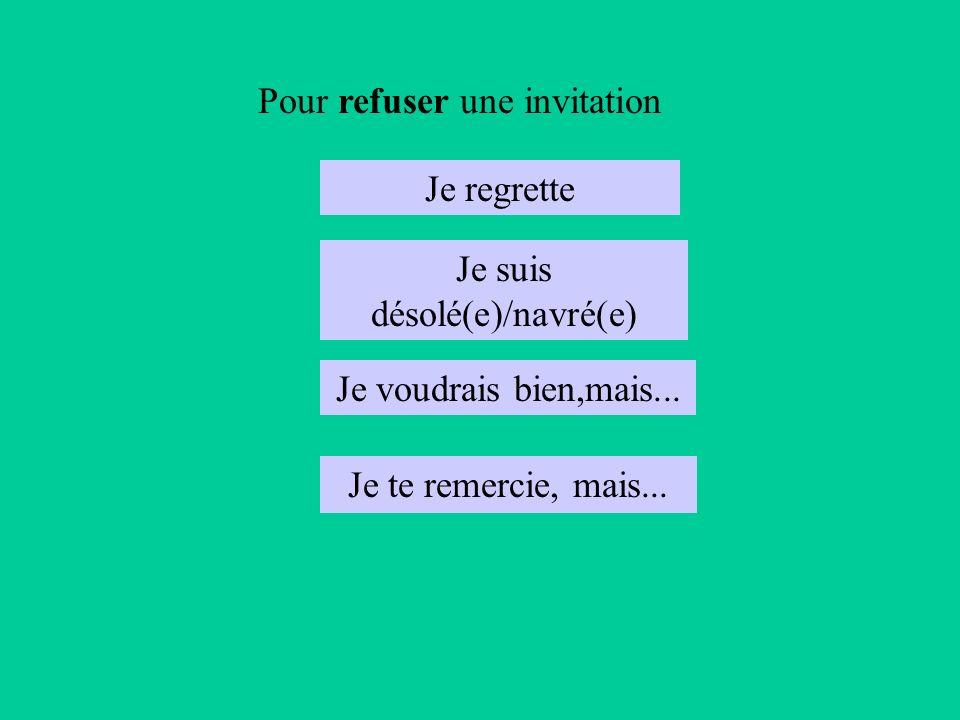 Pour refuser une invitation Je regrette Je suis désolé(e)/navré(e) Je voudrais bien,mais...