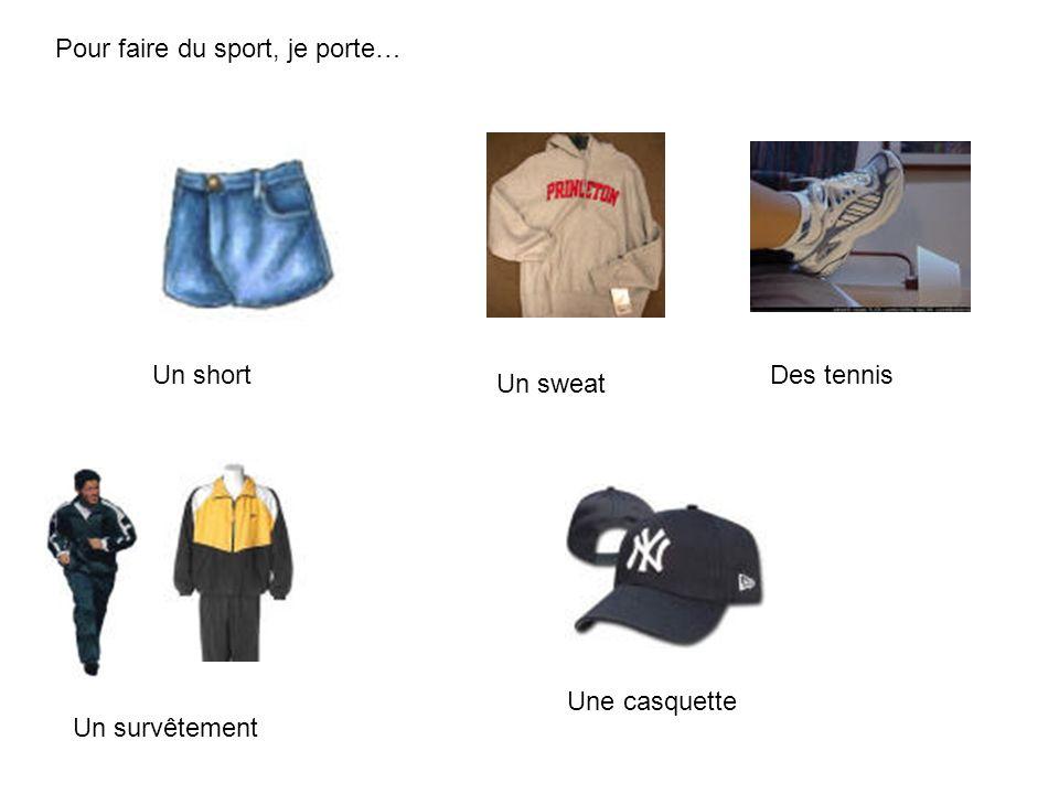 Pour faire du sport, je porte… Un short Un sweat Des tennis Un survêtement Une casquette