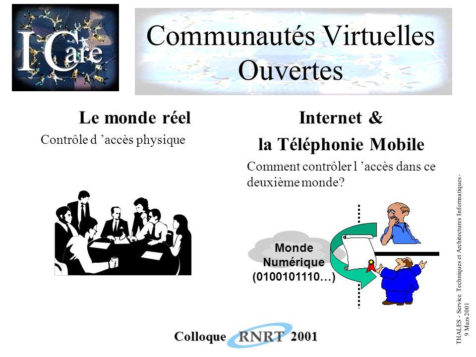 THALES - Service Techniques et Architectures Informatiques - 9 Mars 2001 Colloque 2001 Communautés Virtuelles Ouvertes Le monde réel Contrôle d accès physique Internet & la Téléphonie Mobile Comment contrôler l accès dans ce deuxième monde.