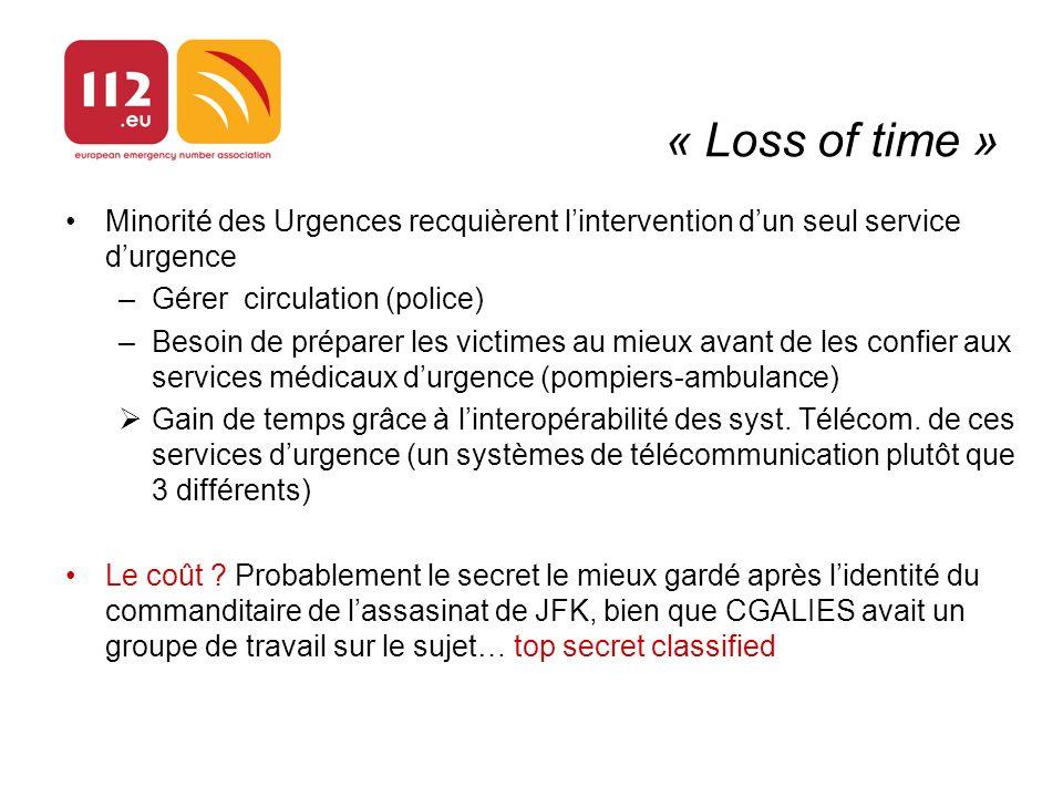 « Loss of time » Minorité des Urgences recquièrent lintervention dun seul service durgence –Gérer circulation (police) –Besoin de préparer les victime