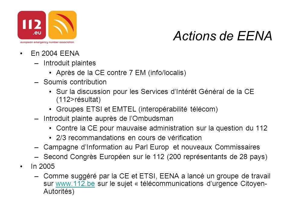 En 2004 EENA –Introduit plaintes Après de la CE contre 7 EM (info/localis) –Soumis contribution Sur la discussion pour les Services dIntérêt Général d