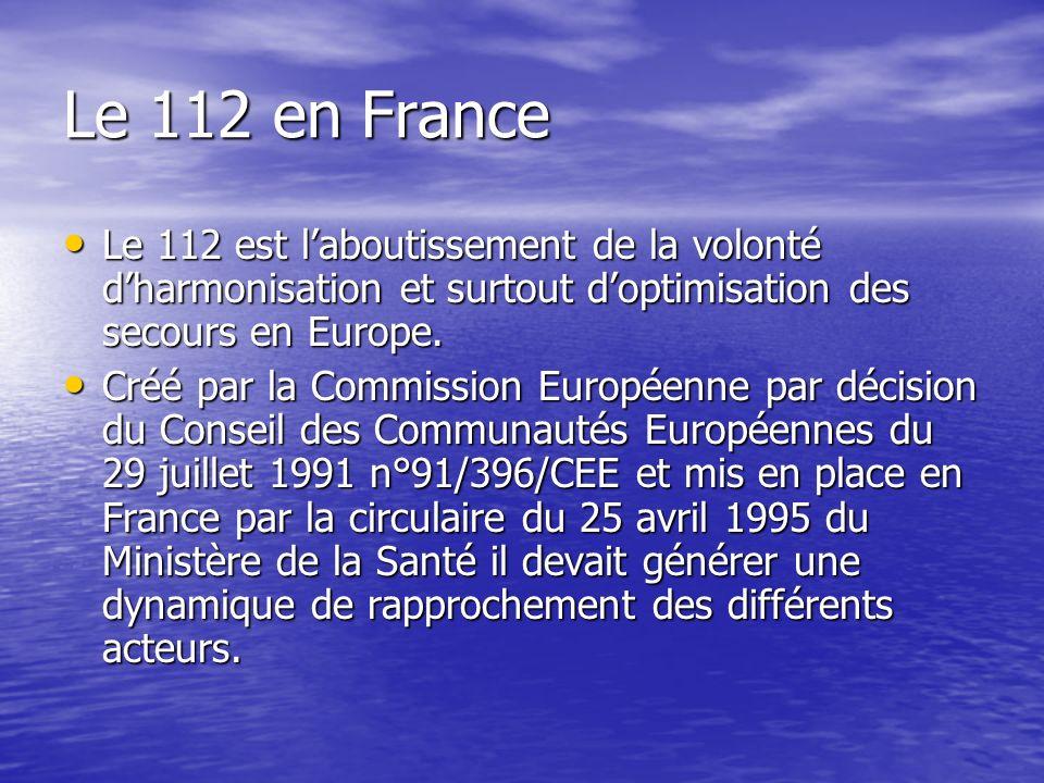 Le 112 en France Le 112 est laboutissement de la volonté dharmonisation et surtout doptimisation des secours en Europe.
