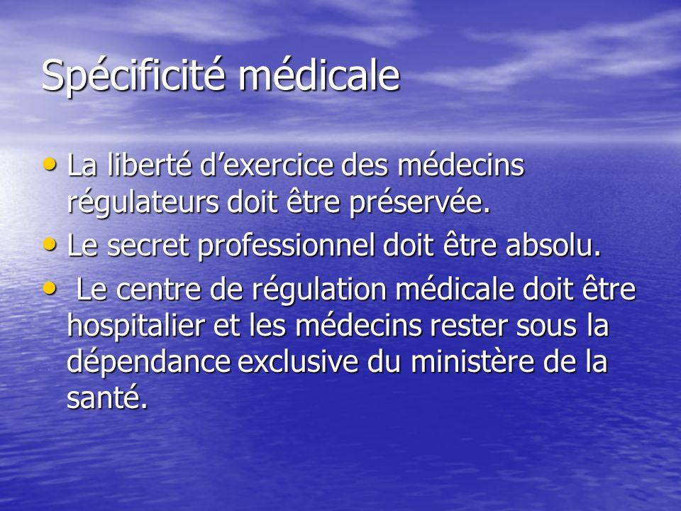 Spécificité médicale La liberté dexercice des médecins régulateurs doit être préservée.