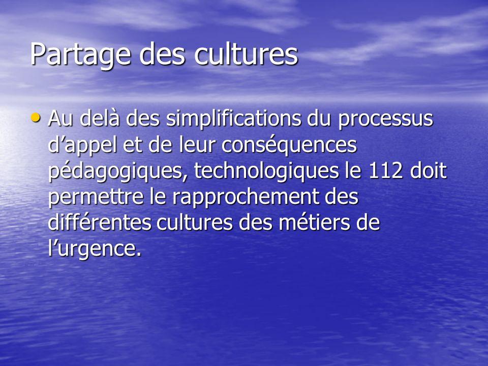 Partage des cultures Au delà des simplifications du processus dappel et de leur conséquences pédagogiques, technologiques le 112 doit permettre le rapprochement des différentes cultures des métiers de lurgence.