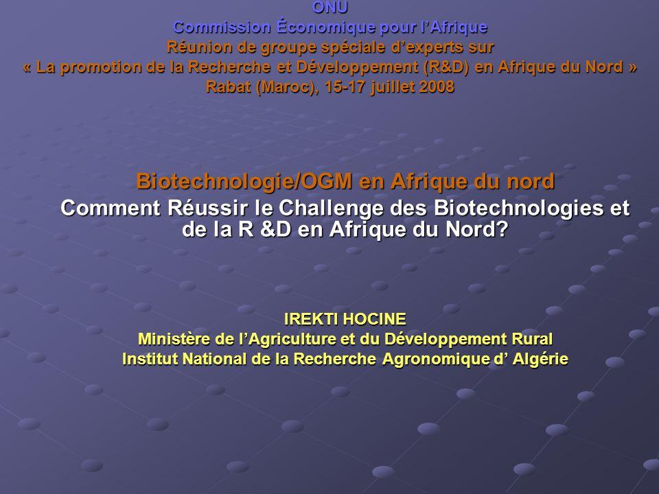 ONU Commission Économique pour lAfrique Réunion de groupe spéciale dexperts sur « La promotion de la Recherche et Développement (R&D) en Afrique du No