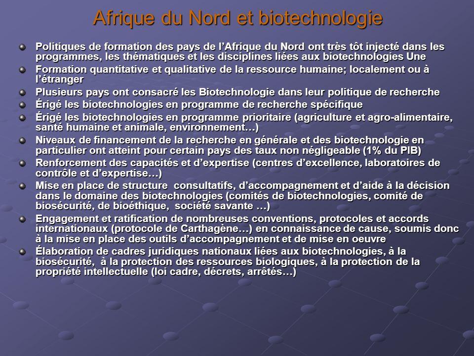 Afrique du Nord et biotechnologie Politiques de formation des pays de lAfrique du Nord ont très tôt injecté dans les programmes, les thématiques et le