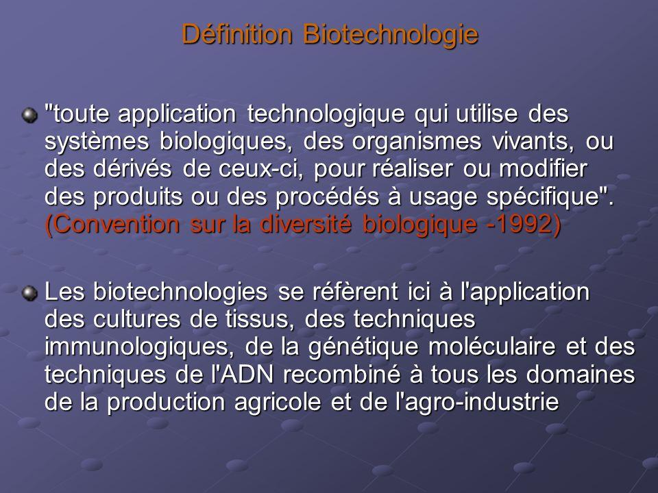 Définition Biotechnologie