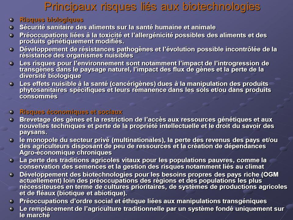 Principaux risques liés aux biotechnologies Risques biologiques Sécurité sanitaire des aliments sur la santé humaine et animale Préoccupations liées à