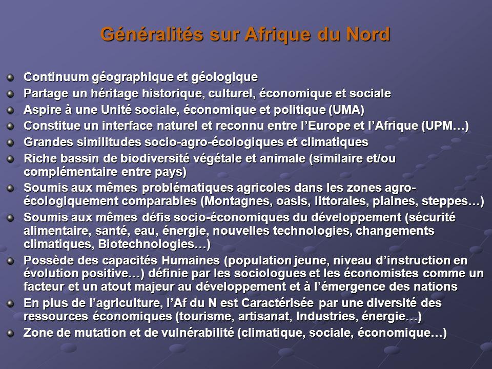 Généralités sur Afrique du Nord Continuum géographique et géologique Partage un héritage historique, culturel, économique et sociale Aspire à une Unit