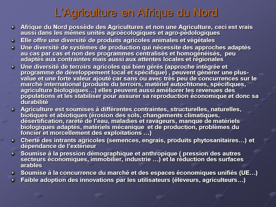 LAgriculture en Afrique du Nord Afrique du Nord possède des Agricultures et non une Agriculture, ceci est vrais aussi dans les mêmes unités agroécolog
