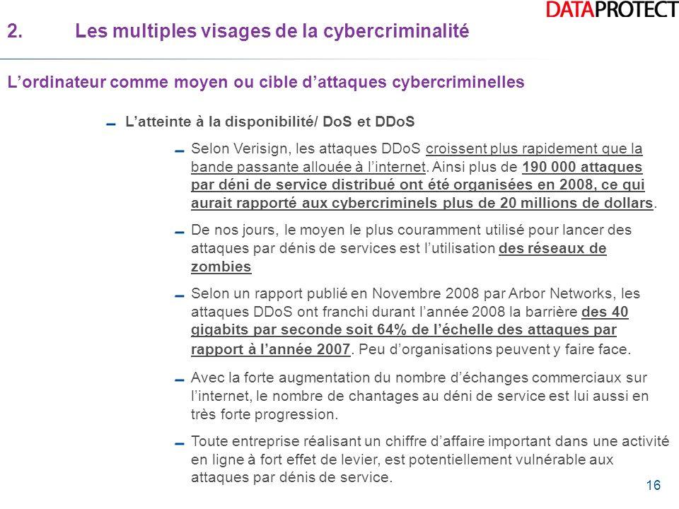 16 Latteinte à la disponibilité/ DoS et DDoS Selon Verisign, les attaques DDoS croissent plus rapidement que la bande passante allouée à linternet. Ai