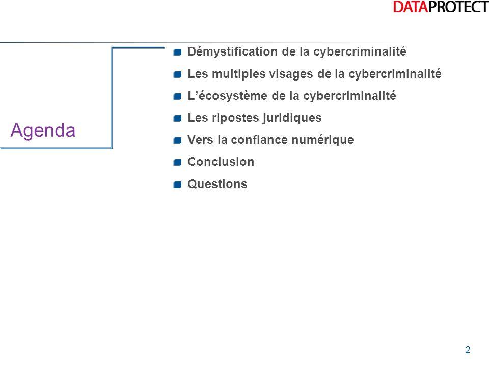 2 Agenda Démystification de la cybercriminalité Les multiples visages de la cybercriminalité Lécosystème de la cybercriminalité Les ripostes juridique