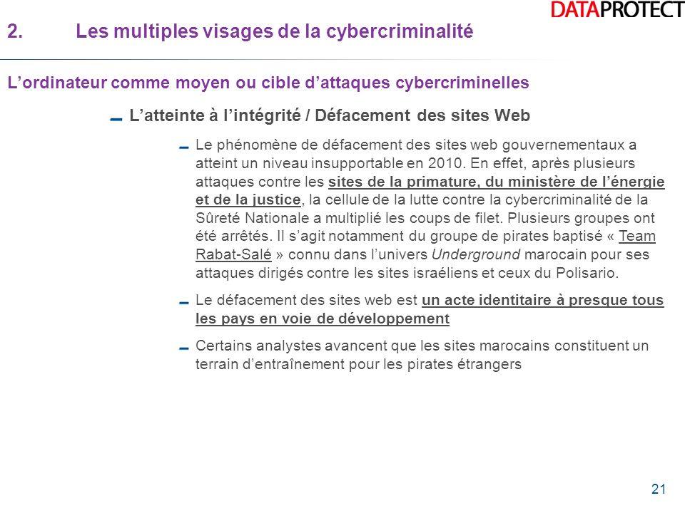 21 Latteinte à lintégrité / Défacement des sites Web Le phénomène de défacement des sites web gouvernementaux a atteint un niveau insupportable en 201