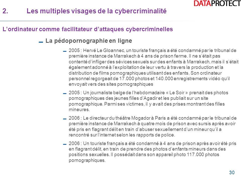 30 La pédopornographie en ligne 2005 : Hervé Le Gloannec, un touriste français a été condamné par le tribunal de première instance de Marrakech à 4 an
