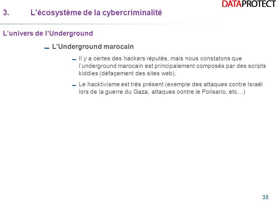 35 LUnderground marocain Il y a certes des hackers réputés, mais nous constatons que lunderground marocain est principalement composés par des scripts