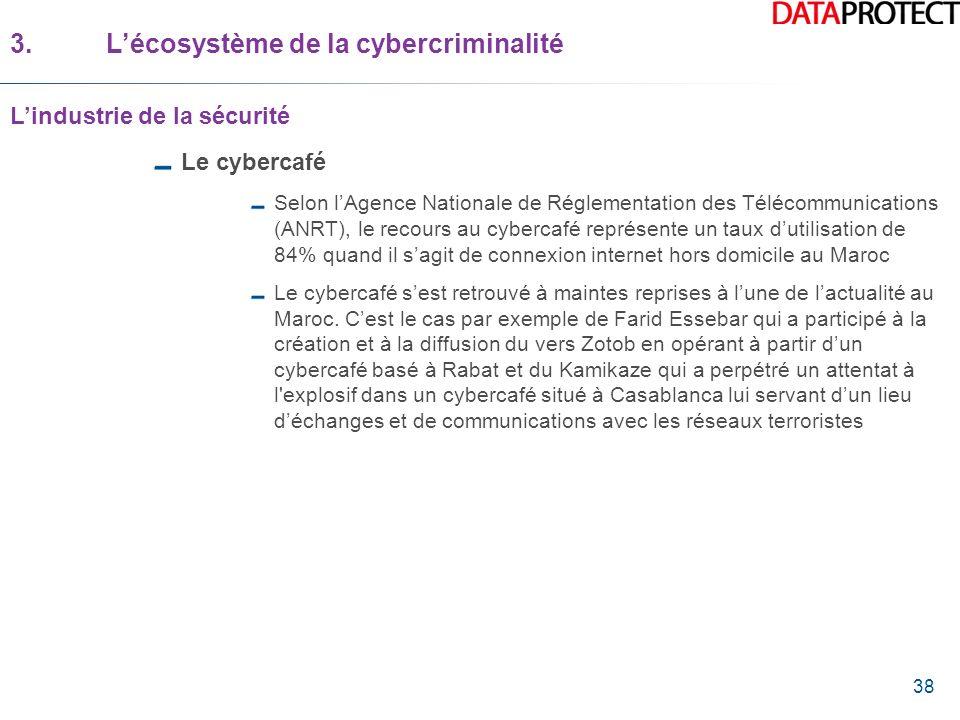 38 Le cybercafé Selon lAgence Nationale de Réglementation des Télécommunications (ANRT), le recours au cybercafé représente un taux dutilisation de 84