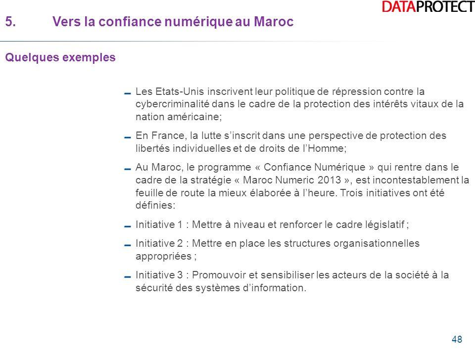 48 5.Vers la confiance numérique au Maroc Quelques exemples Les Etats-Unis inscrivent leur politique de répression contre la cybercriminalité dans le