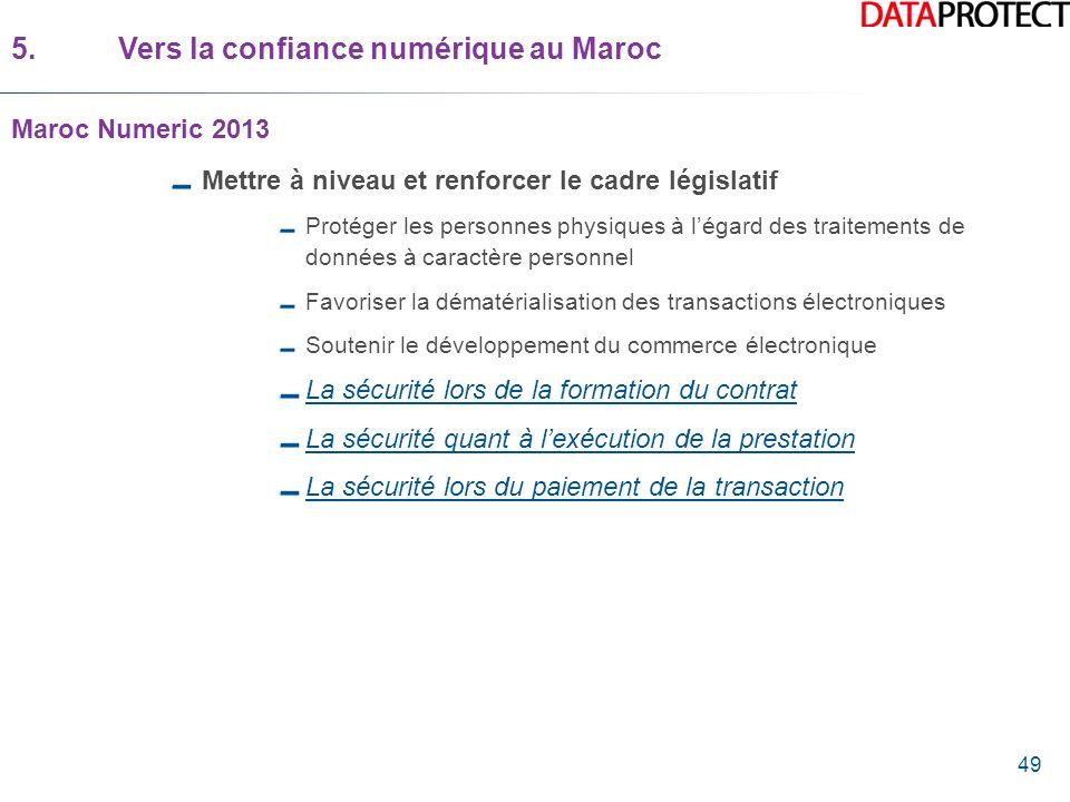 49 5.Vers la confiance numérique au Maroc Maroc Numeric 2013 Mettre à niveau et renforcer le cadre législatif Protéger les personnes physiques à légar