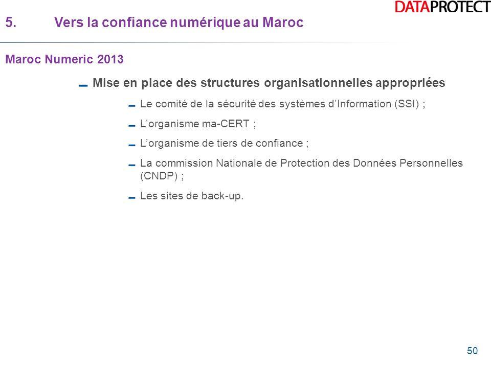 50 5.Vers la confiance numérique au Maroc Maroc Numeric 2013 Mise en place des structures organisationnelles appropriées Le comité de la sécurité des