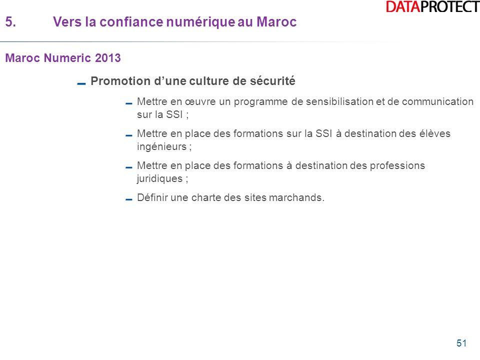 51 5.Vers la confiance numérique au Maroc Maroc Numeric 2013 Promotion dune culture de sécurité Mettre en œuvre un programme de sensibilisation et de