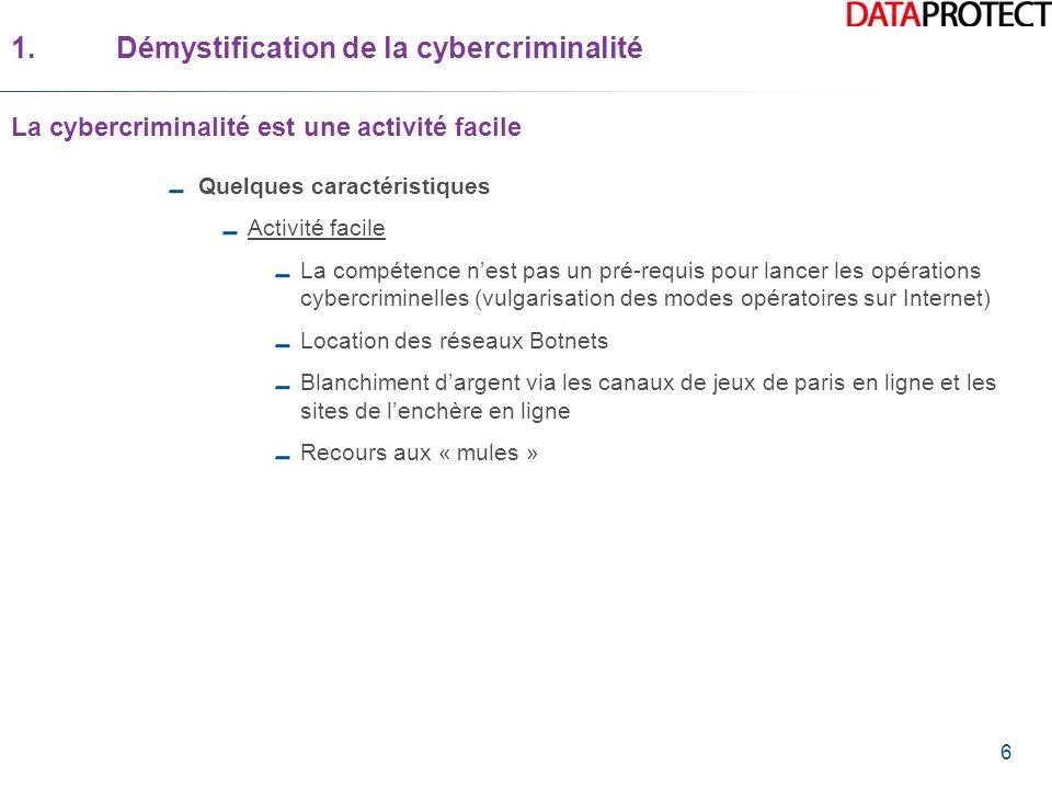 6 Quelques caractéristiques Activité facile La compétence nest pas un pré-requis pour lancer les opérations cybercriminelles (vulgarisation des modes