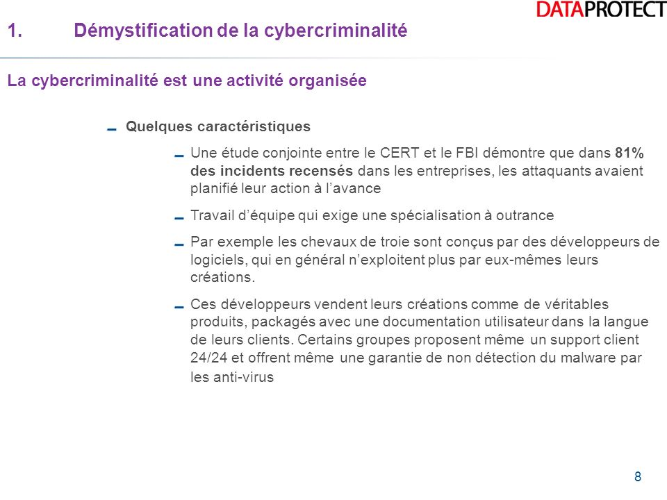 19 2.Les multiples visages de la cybercriminalité Lordinateur comme moyen ou cible dattaques cybercriminelles Latteinte à la disponibilité/ DoS et DDoS/ Les botnets Les botnets sont considérés même par certains analystes comme un phénomène géopolitique.